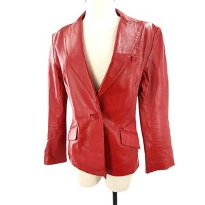 📌HP📌 Sharp Red Lined Leather Blazer 📌HP📌